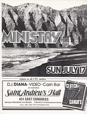 Ministry Original Vintage Flyer by Gary Grimshaw