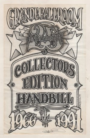 Original Ink Drawing for 1991 Grande Ballroom Collectors Edition Handbill
